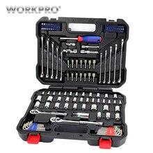 WORKPRO 145 шт. набор инструментов для ремонта автомобиля, ключи 1/4 «и 3/8» Доктор Набор торцевых ключей комплект главная Инструменты
