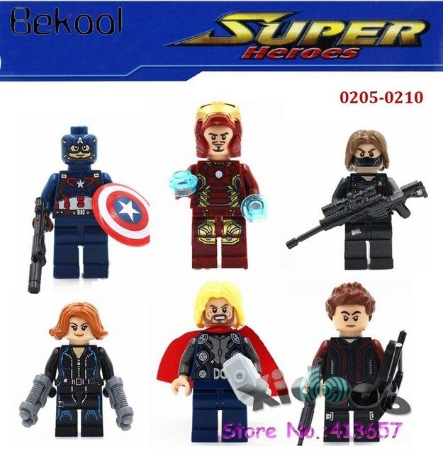 2a6d5bab5 60pcs/lot Bekool 0205-0210 Marvel Avengers 2 Iron Man Tony Stark/Captain  America/Thor/Black Widow/Hawkeye bricks building block