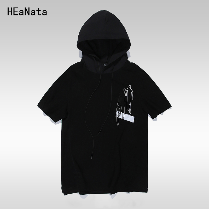 Mens Short Sleeve Hoodies Casual 2018 Summer Hip Hop Casual Hooded Streetwear Sweatshirts Summer 95% Cotton Funny T shirts