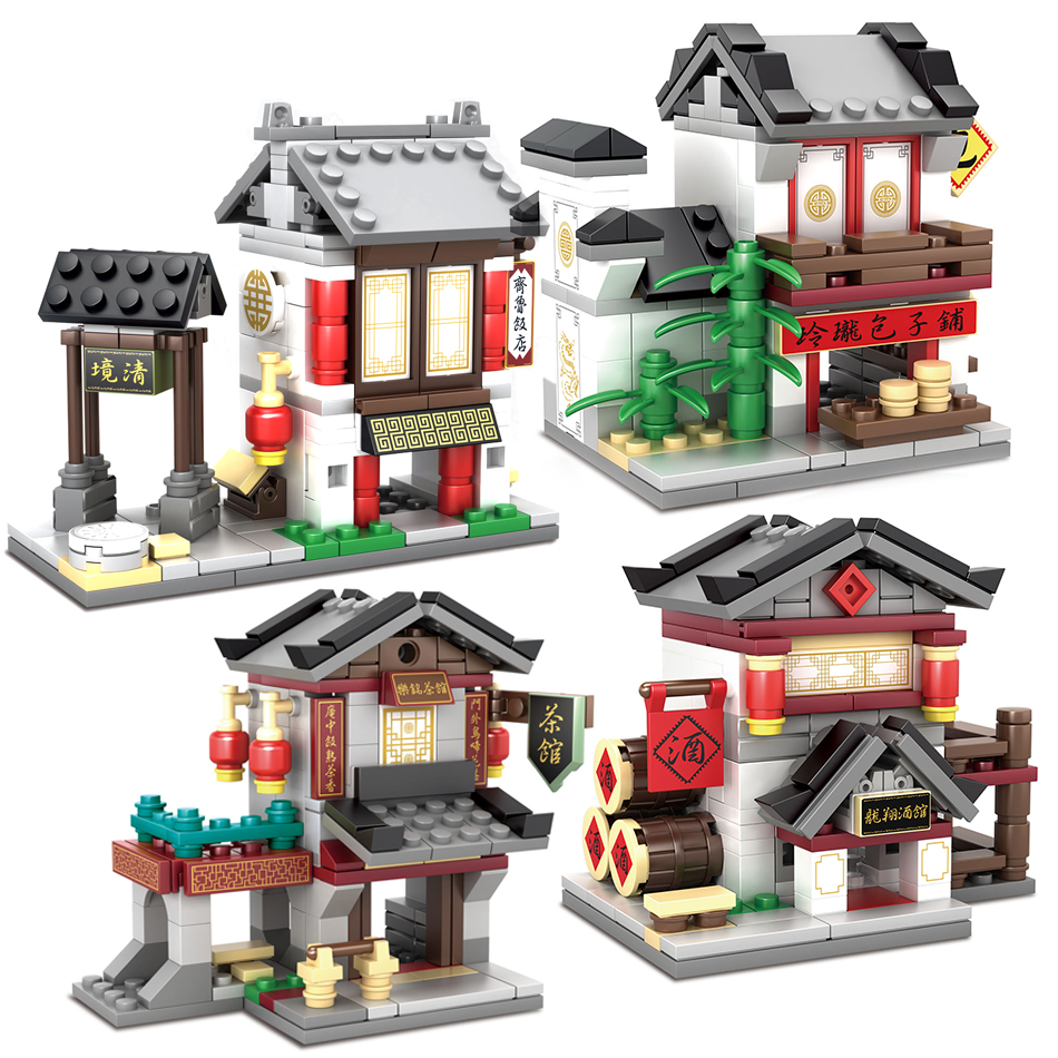 4pcs/set ancient China restaurant Compatible Legoed Architecture Model Street Scene Building Blocks set Bricks Toys for Children loz mini diamond block world famous architecture financial center swfc shangha china city nanoblock model brick educational toys