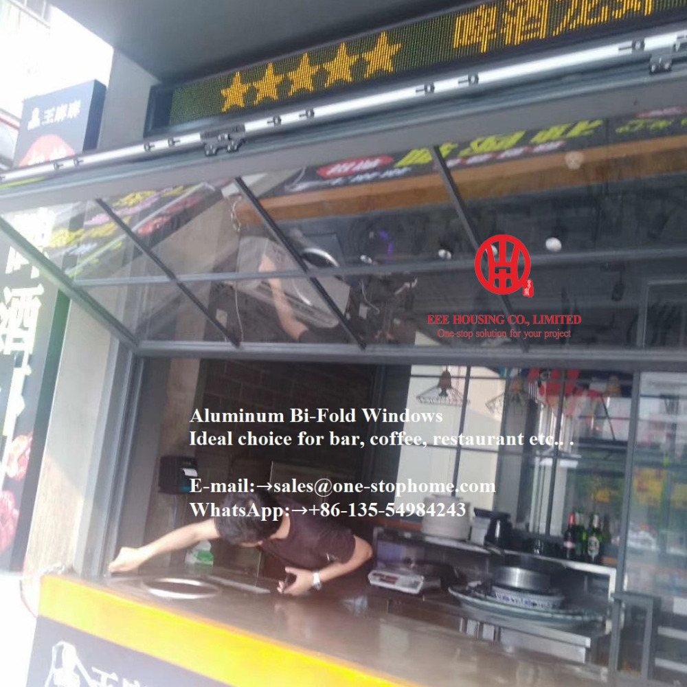 Aluminum Bi-folding Window System Smoothly Maximize The Opening Space,milk Tea Shop Window,tempered Glass Folding Window