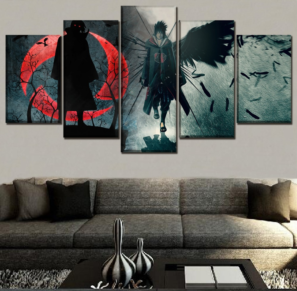 One Set 5 Panel Anime Naruto Itachi Uchiha Picture Modern Artwork Wall Home Decorative Canvas HD Printing Types Modular Painting In Calligraphy