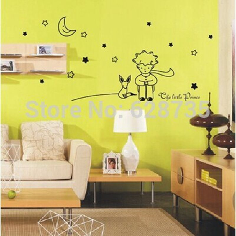 free shipping the little prince wall decals large size 98x41cm removable prince and the fox wall. Black Bedroom Furniture Sets. Home Design Ideas