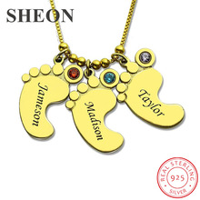 купить SHEON Genuine 925 Sterling Silver Gold Baby Feet Charm Birthstone Mother Necklace Personalized Kids Name Necklace Silver Jewelry по цене 1615.58 рублей