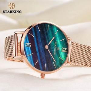 Image 4 - STARKING למעלה מותג אופנה גבירותיי רשת שעונים נקבה קוורץ שעון אמרלד נשים יוקרה נירוסטה שעון Reloj שעוני יד