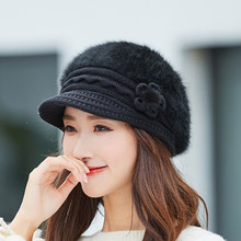 2018 New Women Rabbit Fur Knitted Berets Hats Casual Solid Color Autumn Winter Hat Female Bonnet Caps Boina Feminino(China)