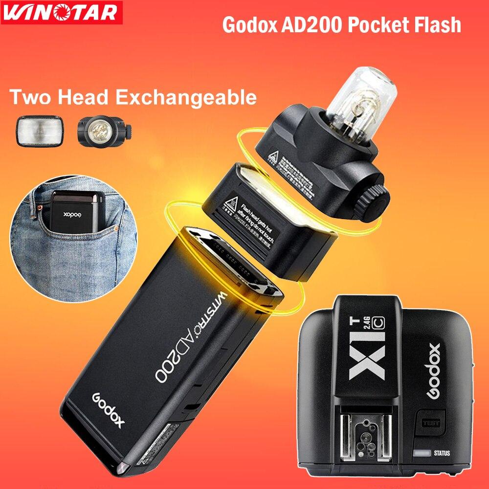 Горячая Godox AD200 карман вспышки Speedlite с 2 света главы 200 Вт Мощность 2.4 г Беспроводной TTL HSS 1/ 8000 s + x1t c триггера для Canon