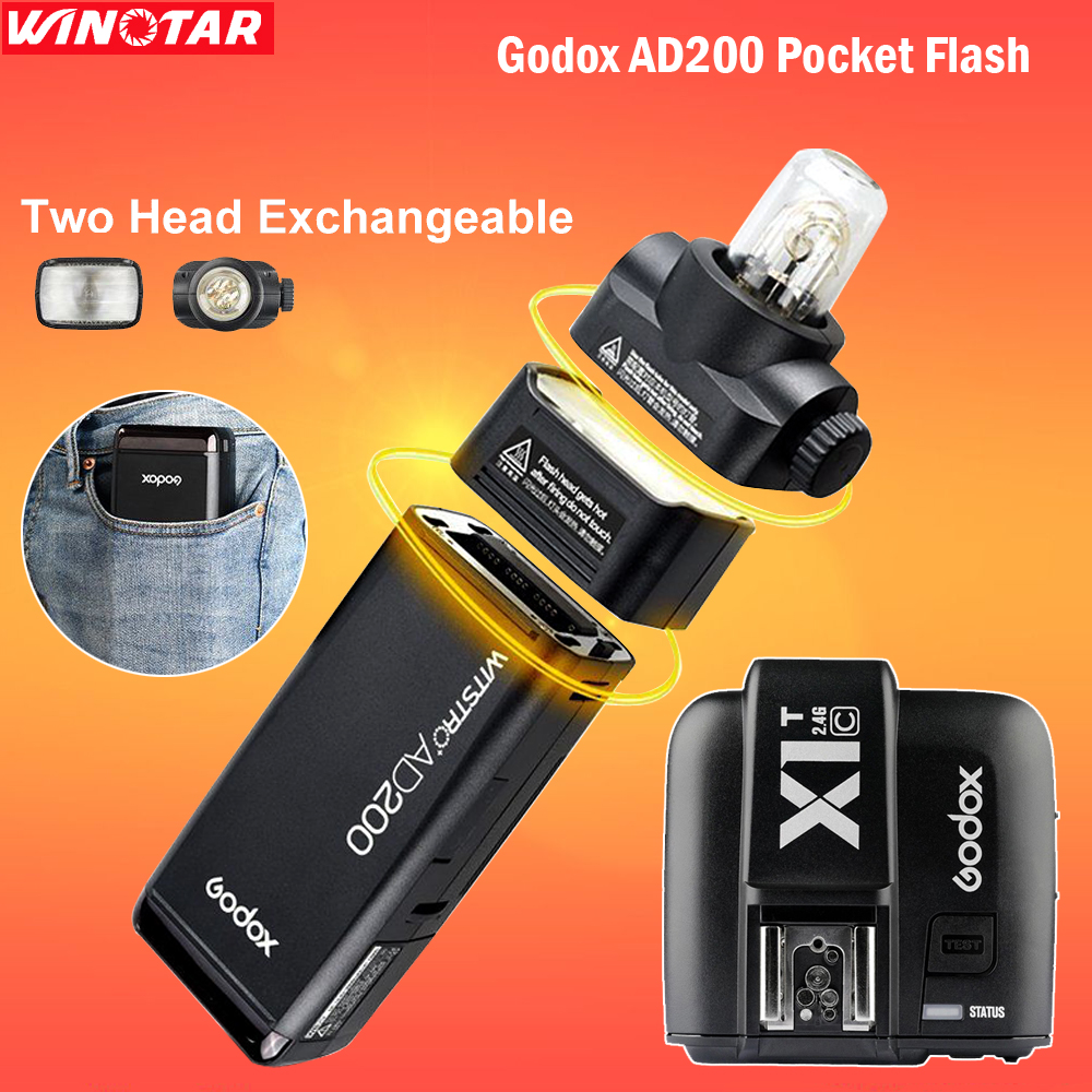 HOT Godox AD200 Pocket Flash Speedlite with 2 Light Heads 200W Power 2.4G Wireless TTL HSS 1/8000s + X1T-C Trigger for Canon цена