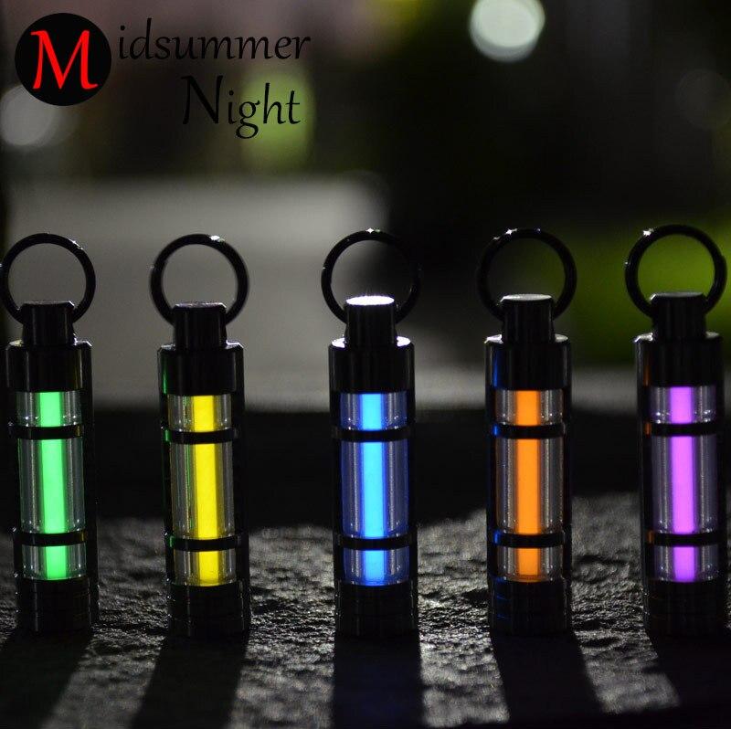 Spedizione gratuita Automatico luce 25 anni di Titanio trizio tubo fluorescente anello chiave portachiavi salvavita luci di emergenza