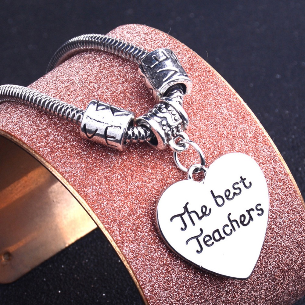 Teacher Gift Silver Stainless Steel Bangle Bracelet Back to School Thanksgiving Gift