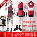 NARUTO Sakura Haruno Cosplay Costume Halloween Uniform Dress+Belt+Bags+Pants+Headband+Sleeves+Gloves+Bandage+Shoes