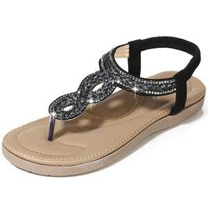 Image 2 - BEYARNEGladiator Thong Sandals 2019 Women Summer Platform Flats Faux Rhinestone Slip On Solid Creepers Casual ShoesE667