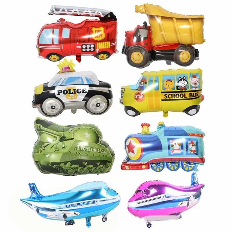Big Toy Car Foil Ballon Kids Baby Shower Boy Tank Plane Ambulance Bus Fire Truck Birthday Party Decoration Train Cars Balloons
