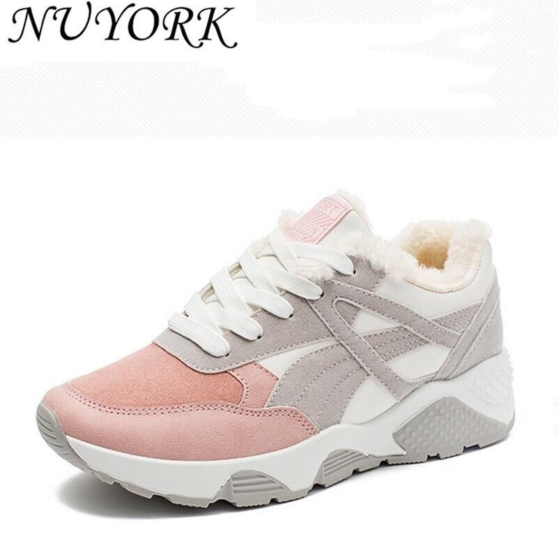 רישום חדש חמות מכירות pu מגפי נעלי ספורט החורף בתוספת קשמיר נשים נעלי ריצת 1729