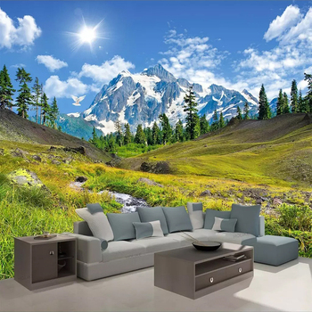 Snow Mountain Plateau Natural Scenery 3D Photo Wallpaper Custom Mural Wall Paper Living Room Sofa Bedroom TV Backdrop Home Decor beibehang mural wall paper modern three dimensional living room bedroom tv backdrop swiss alps scenery 3d photo wallpaper roll