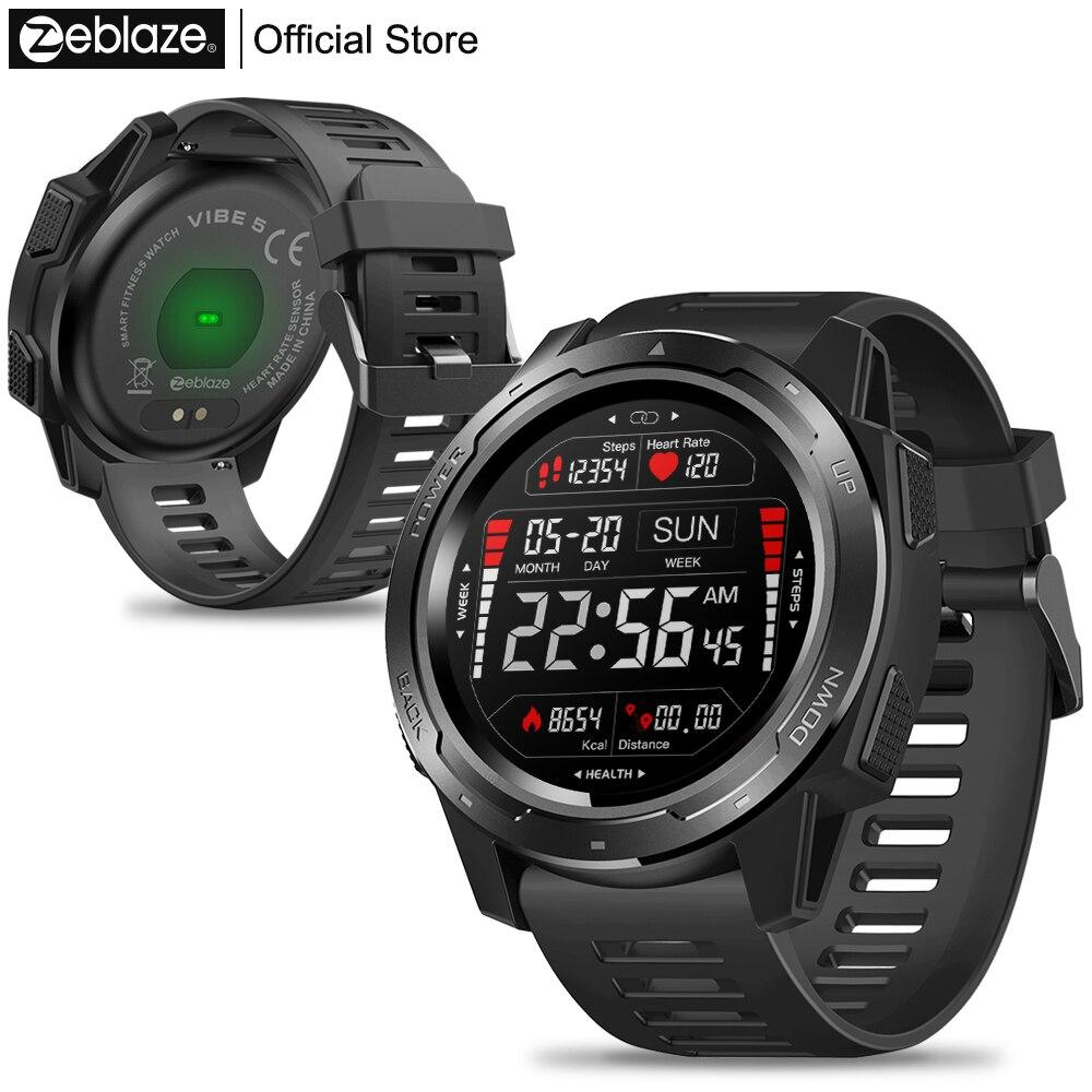Nouveau Zeblaze VIBE 5 IP67 étanche fréquence cardiaque longue durée de vie de la batterie écran d'affichage couleur multi-sports Modes montre intelligente hommes