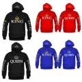 Women Men Sport Sweaters 2016 Hot Couples Hockey Hoodie Hoodies for Women with King Queen Crown printing letters Sweatshirt