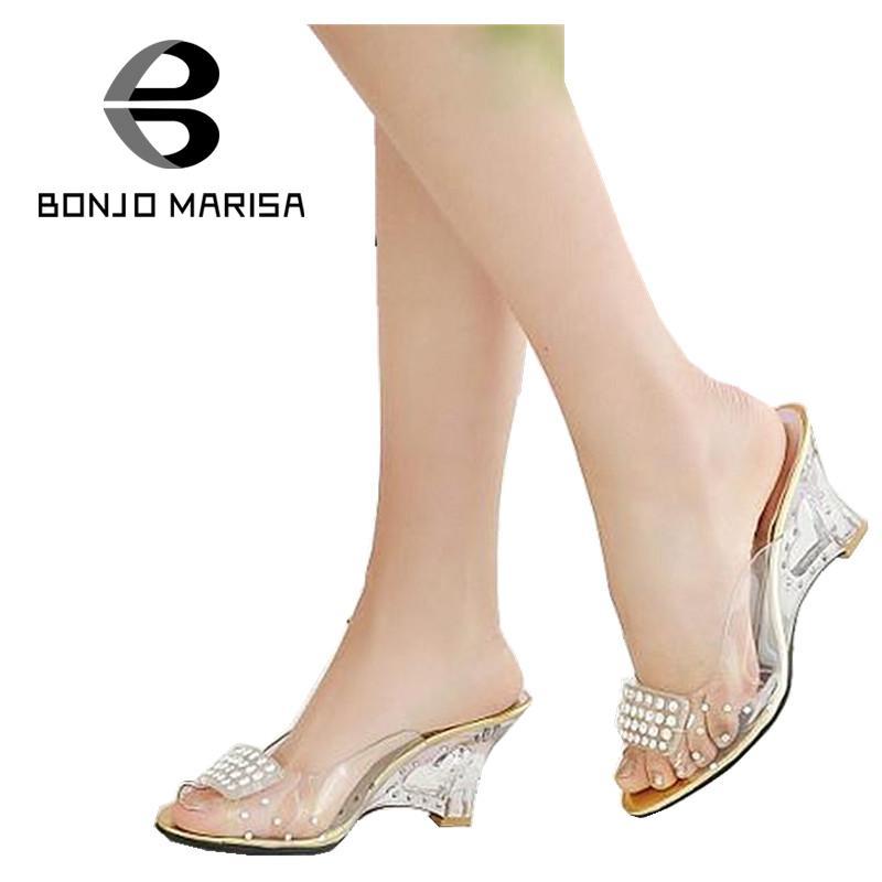 Big Size 34 43 Women Sandals Sexy Rhinestone High Heel Cutout Wedges Transparent Upper Summer Shoes