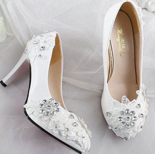 wide wedding shoes lace rhinestones wedding shoes for women white fashion 1406