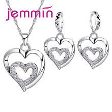 True Love Heart Inside Heart Shape Pendant Necklace 925 Sterling Silver Jewerly For Woman Girls Lady Gift Wholesale(China)