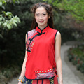 Original Women Slim Sleeveless Plate Buttons Short-sleeved Shirt Female Section Zhu Ma Vest