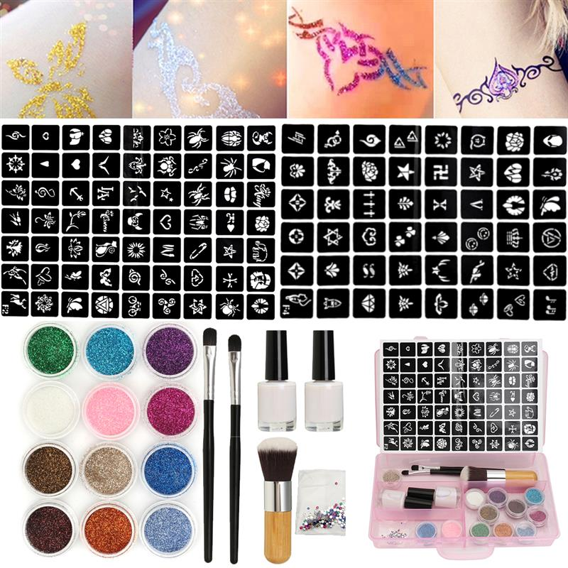 12 Colors Powder Temporary Shimmer Diamond Glitter Tattoo Kit For Body Art Design Paint With Rhinestone 111 Stencil Glue+Brushes12 Colors Powder Temporary Shimmer Diamond Glitter Tattoo Kit For Body Art Design Paint With Rhinestone 111 Stencil Glue+Brushes
