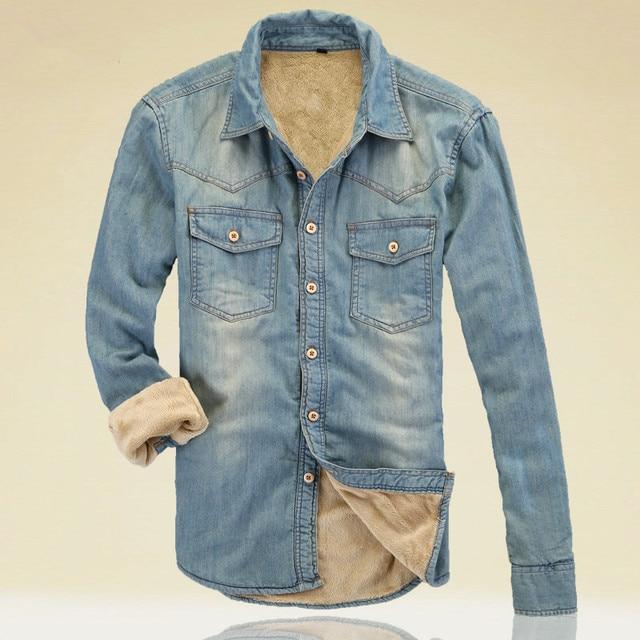 Autumn Winter New Slim With Velet Lining Denim Shirt Casual Long Sleeve Warm Mens Shirt