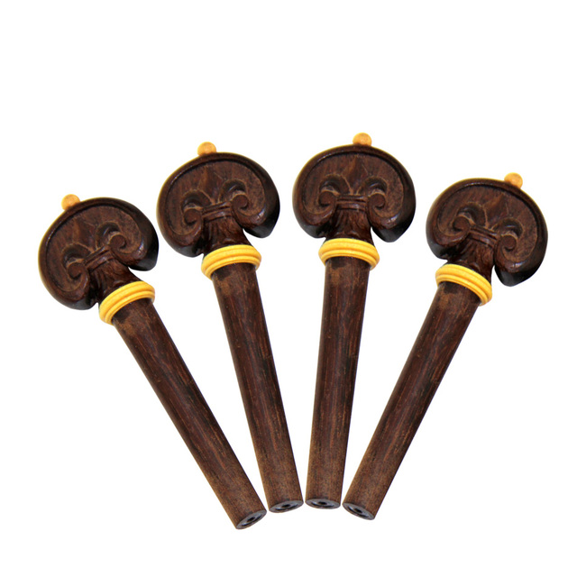 MUKU 4/4 Violin Parts Accessories Jujube Wood Chin Rest Tailpiece Fine Tuner Tuning Peg Tailgut Endpin Strings Kit