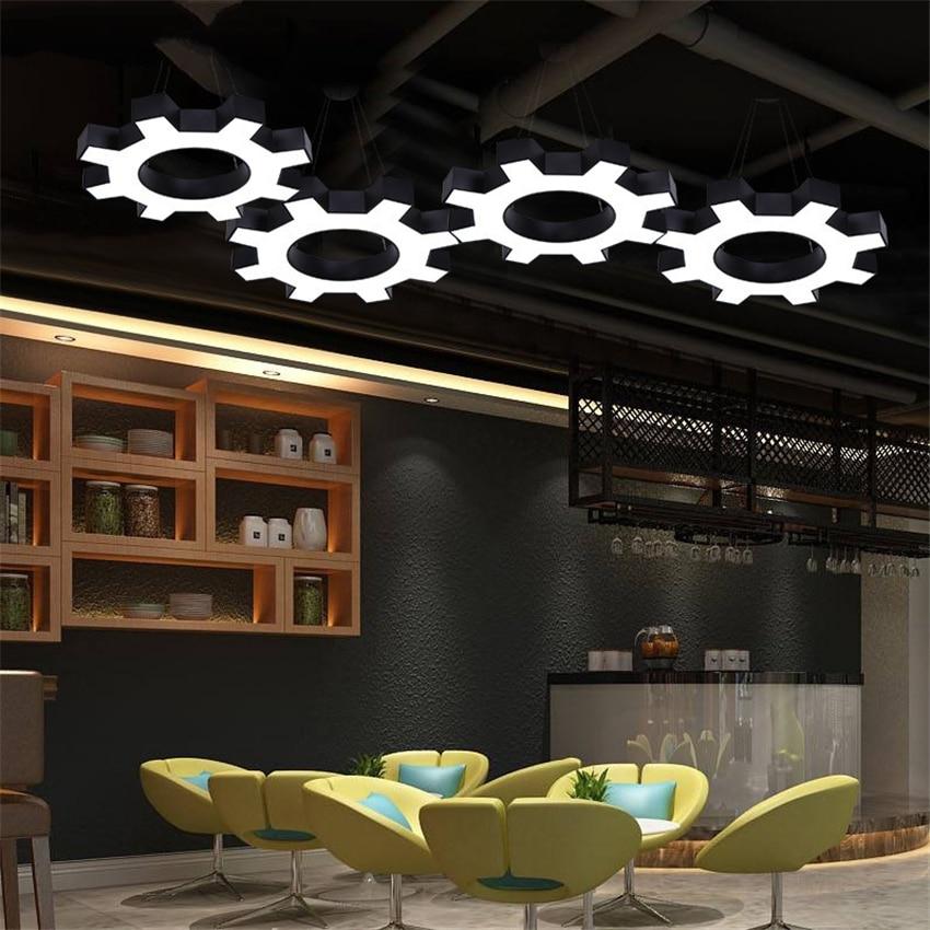 Us 172 2 30 Off Loft Gear Pendant Lights Office Led Art Deco Lamps Modern Minimalist Cafe Gym Iron Dining Kitchen Lighting In