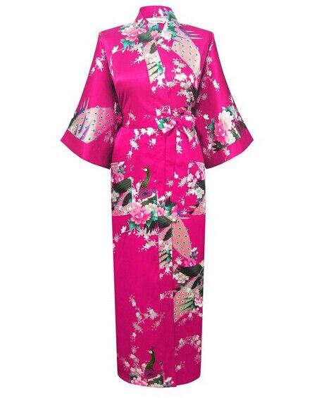 Plus la Taille XXXL Femmes En Satin de Soie des Robes Sexy Long Peignoir  Vintage Kimono Trois Trimestre Nuit Robe Floral 62d577e0bf1