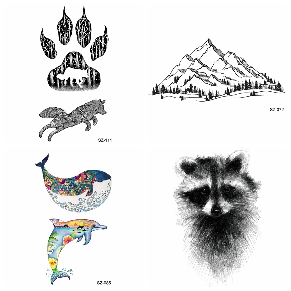 Black Small Paw Temporary Tattoo Women Body Art Raccoon Cat Valley Waterproof Tatoo Men Arm Wolf Mole Tattoo Transferable Decals