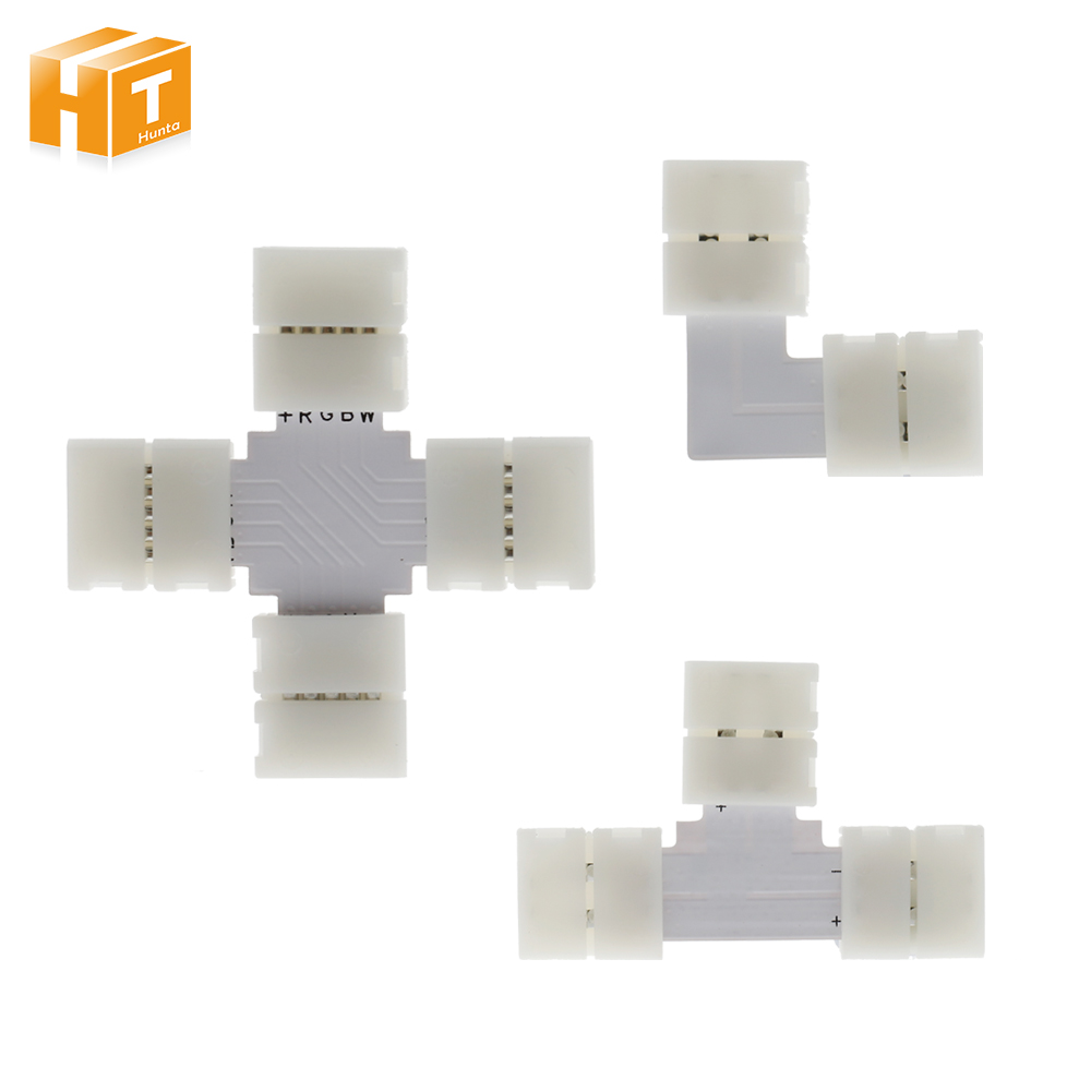 Hot seller LED Strip Connector 2pin 4pin 5pin 10mm L Shape / T Shape / X Shape Free Welding Connector 5pcs/lot. 5pcs led strip connector 2pin 8mm 10mm l t x shape quick splitter right angle free welding connector for single color led strip