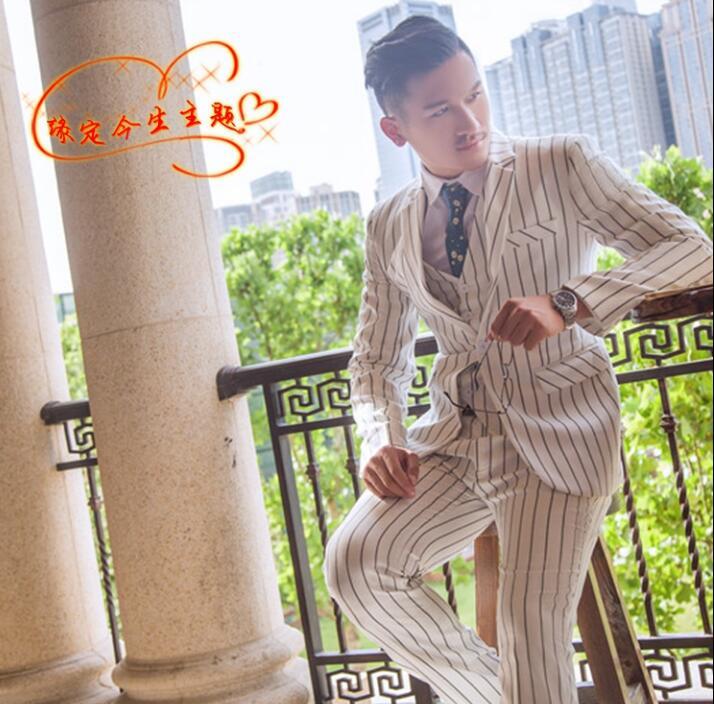 Пиджак мужчины торжественное платье самые последние модели брюк для костюма костюм мужской костюм Homme мужской костюм в полоску Брак Свадеб...