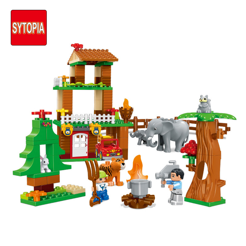 Sytopia Forest Villa Explore Children Building Blocks Big Size Educational Toy For Baby Kid Gift Toy Compatible With Duploe sytopia fire station fire police children building blocks big size educational toy for baby kid gift toy compatible with duploe