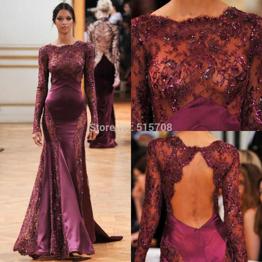 Custom Long Sleeve Lace Backless Evening Dresses Burgundy