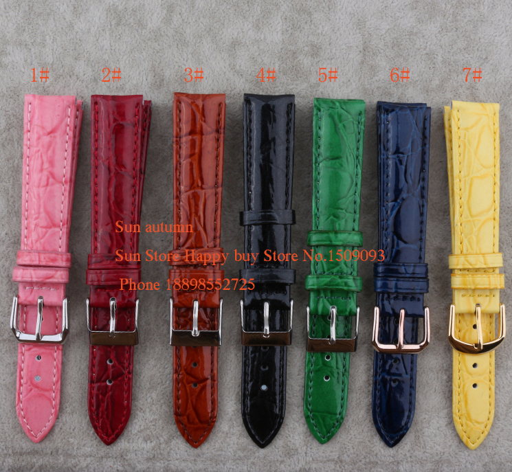 pink red watchband Genuine Leather watchband 18mm Watch Accessorie Bright colorful Bracelets crocodile grain free shipping