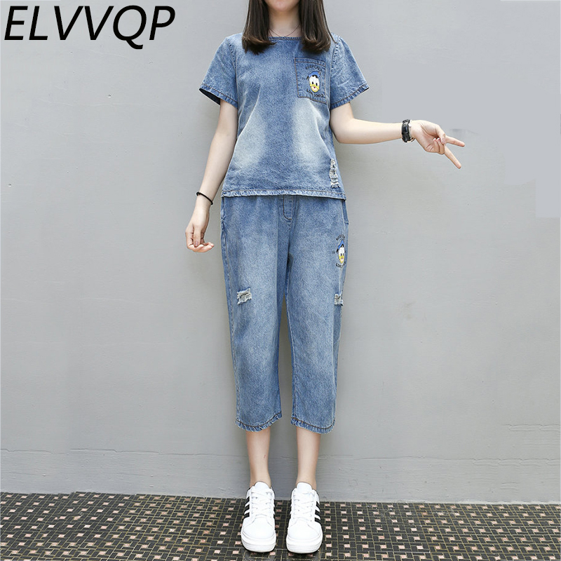 Casual Women New Spring Summer Loaded plus size XL 5XL Two piece Loose Round Collar duck pattern Short Sleeve Blue Jeans WF140