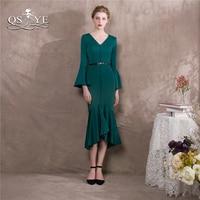 QSYYE 2018 Tel Green Mermaid Prom Dresses Elegant Long Sleeve V Neck Stretched Satin Tea Length Formal Evening Dress Party Gown