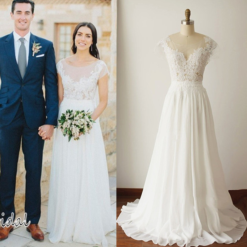 Wedding Gowns With Cap Sleeves: 2016 Bohemian Wedding Dresses Chiffon Sheath Garden Beach