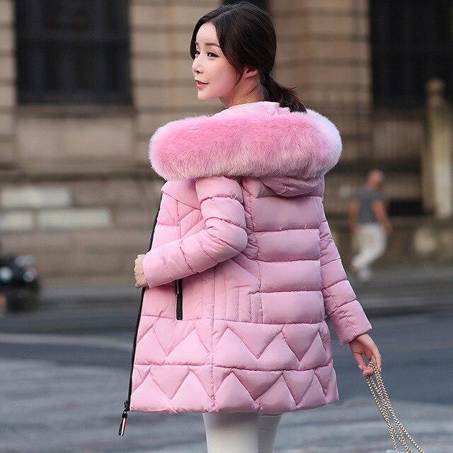 2018 Sonbahar Kış Ceket Kadın Moda Sıcak Parkas Kadın Aşağı pamuklu ceket Kapşonlu Büyük Kürk Yaka Ince Kış Kalınlaşmak Ceket