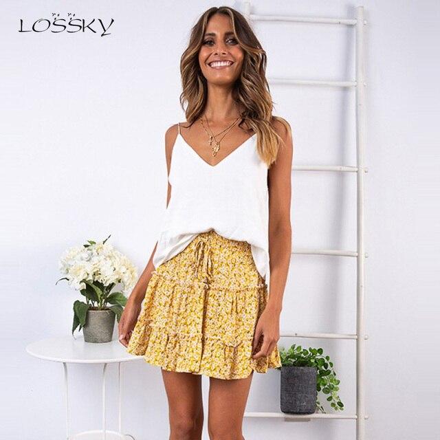 Lossky חצאית נשים פרחוני הדפסה לפרוע שרוכים Pleate מיני חצאית Boho צ י גבוהה מותן קצר קיץ חוף עץ אוזן חצאית נקבה