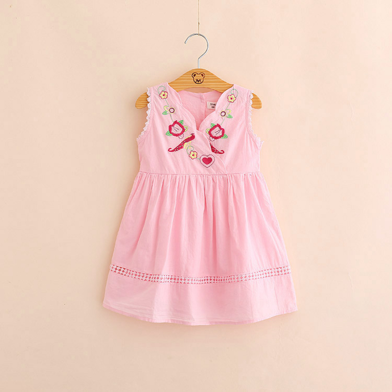 IMMDOS 2018 Summer Dresses For Girls Kids Embroidery Cotton Princess Dress Children Sleeveless Vestidos Fashion Girl Clothes little j summer girls dress kids sleeveless strawberry printed princess dress cotton vestidos children clothes bowknot dress