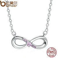 BAMOER Genuine 100 925 Sterling Silver Forever Love Pink Crystal Pendants Necklace For Women Fine Jewelry