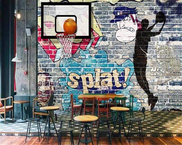 Beibehang 3d wallpaper basketball never extinguish for Basketball mural wallpaper