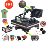 Advanced New design 8 in 1 Combo Heat Press Machine Sublimation Heat Press Heat Transfer Printer For Mug/Cap/T shirt/Phone Cases