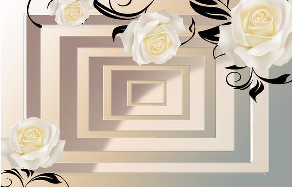 Etiqueta De La Pared Telón De Fondo 3d Rosas Blancas Mural