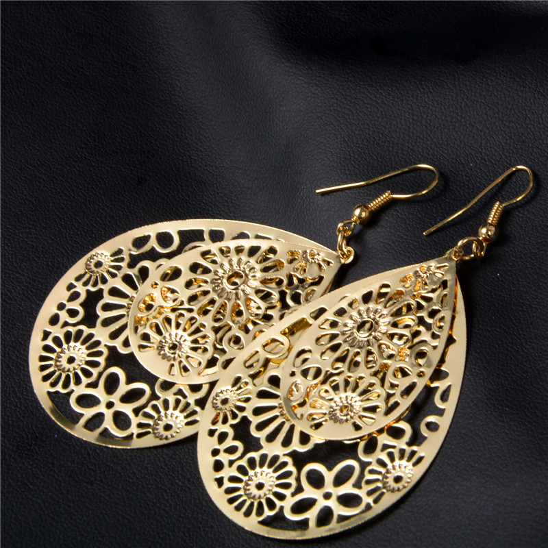 SHUANGR Flower Piercing Hanging Earrings For Women Big Gold-Color Water Drop Statement Earrings Fashion Jewelry Indian