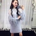 [Soonyour] 2017 otoño y el invierno nuevo tamaño más de moda de manga larga costura knit dress as17842