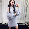 [soonyour] 2017 autumn and winter New plus size Fashion long-sleeved stitching knit dress AS17842