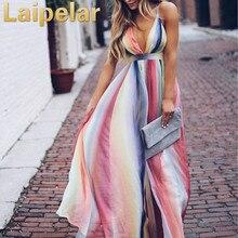 Rainbow Color Sexy Deep V Neck Maxi Dress Women Sleeveless Backless Boho Striped Summer Dress Party Beach Dress Vestidos цена 2017